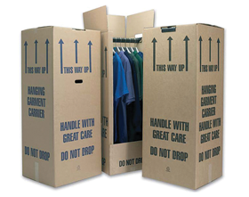 Cardboard wardrobe storage boxes and wardrobe removal boxes available.