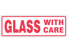 LABELS GLASS WITH CARE 4 X 6